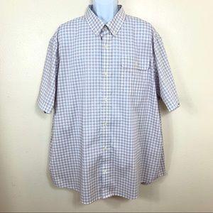 DULUTH Men's Plaid casual Shirt short sleeve 2XL
